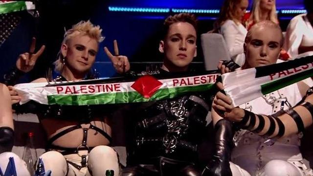 İsrail'deki Eurovision finalinde Filistin bayrakları damga vurdu