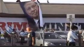İsrail'de Eurovision Şarkı Yarışması'nın yapıldığı binaya Erdoğan posteri