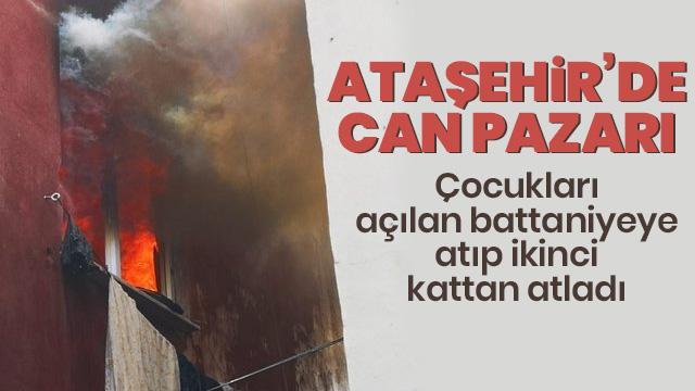 Ataşehir'de can pazarı! Çocukları açılan battaniyeye atıp ikinci kattan atladı