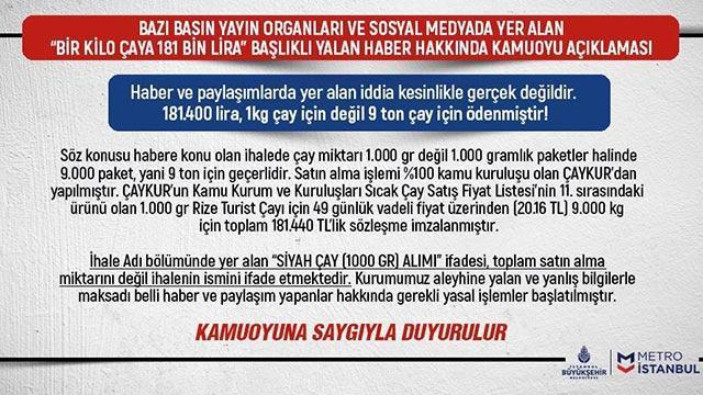 Metro İstanbul'dan bir kilo çaya 181 bin lira ödendi haberine yalanlama