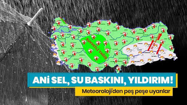 Meteoroloji'den son dakika sağanak yağış ve hava durumu uyarısı geldi!