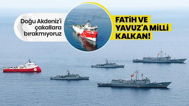 Fatih ve Yavuz sondaj gemileri milli savaş gemilerimizin korumasında