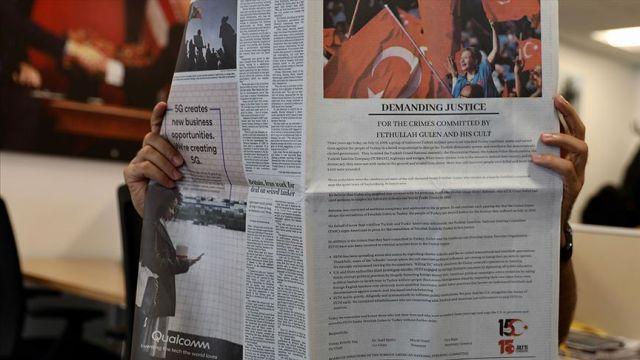 """Washington Post'ta """"15 Temmuz"""" ilanı: Umarız ki ABD, FETÖ'nün zararlarını erkenden fark eder"""
