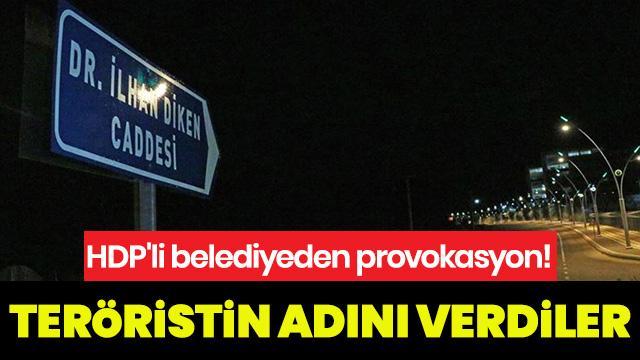 HDP'li belediye terör suçlusunun adını cadde tabelasına taşıdı