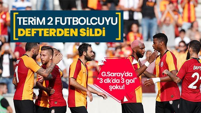G.Saray'da 3 dk'da 3 gol şoku! Terim 2 futbolcuyu defterden sildi