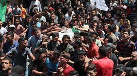 Terör devleti İsrail'in şehit ettiği Filistinliler son yolculuğuna uğurlandı
