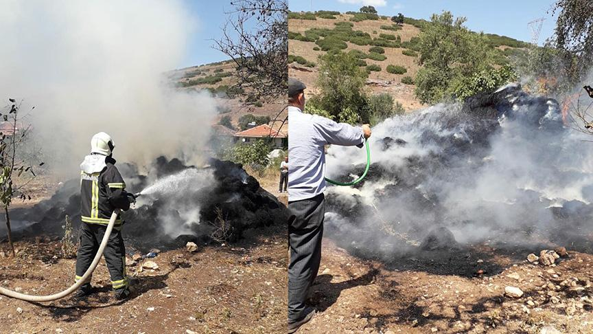 Manisa'da depo yangınında, 300 balya saman kül oldu