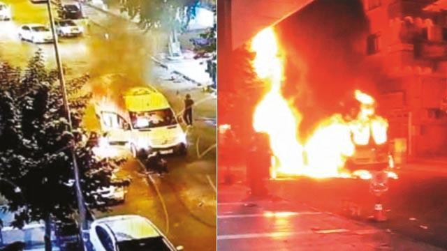 PKK yandaşları minibüs yaktı