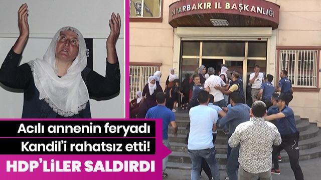 Oğlu için oturma eylemi başlatmıştı... HDP'lilerin saldırısına uğradı
