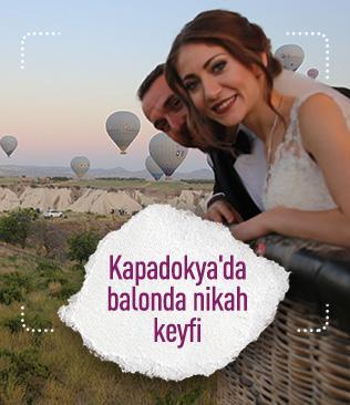 Kapadokya'da balonda nikah keyfi