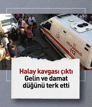 Gaziantep'teki bir düğünde halay sırasında kavga çıktı, damatla gelin salonu terk etti