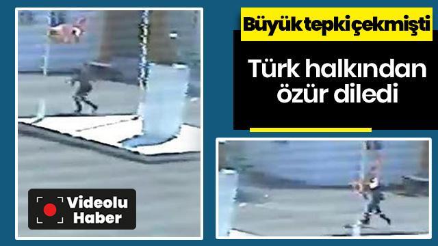 Görüntüler büyük tepki çekmişti! Türk bayrağını çalan Rum genç özür diledi