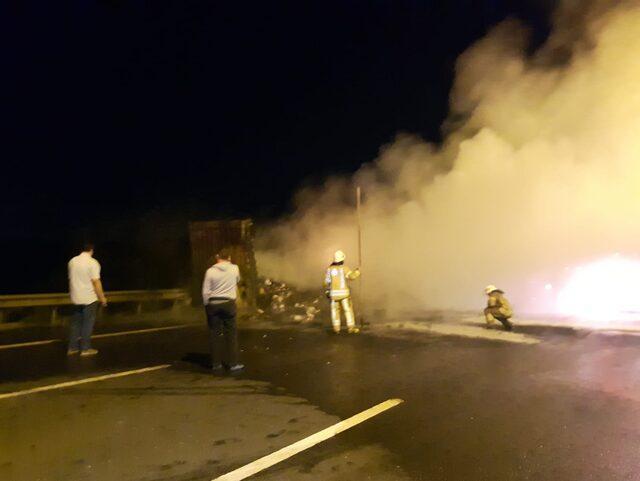 Kuzey Marmara Otoyolu'nda korkutan yangın