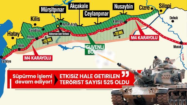 Milli Savunma Bakanlığı: Etkisiz hale getirilen terörist sayısı 525 oldu