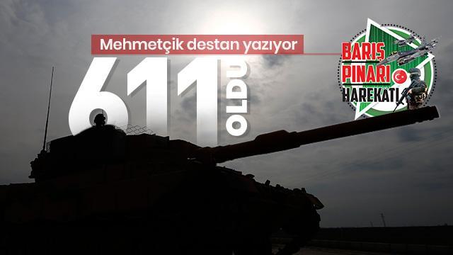 Son Dakika... Barış Pınarı Harekâtı'nda etkisiz hale getirilen terörist sayısı 611 oldu