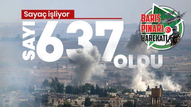 Barış Pınarı Harekatı'nda 637 PKK/YPG'li terörist etkisiz hale getirildi
