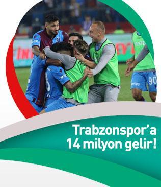 Trabzonspor'a 14 milyon liralık gelir