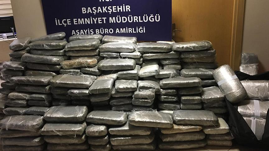 Başakşehir'de durdurulan araçtan 676 kilo uyuşturucu çıktı