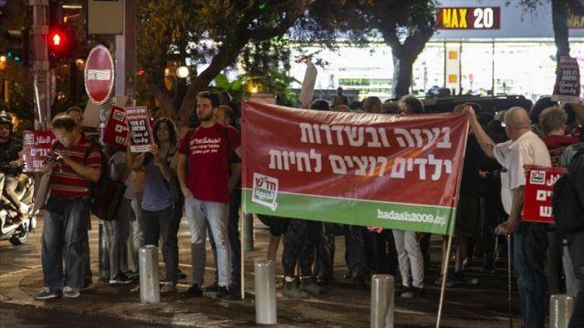 İsrail'in Gazze'ye düzenlediği saldırılar Tel Aviv'de protesto edildi