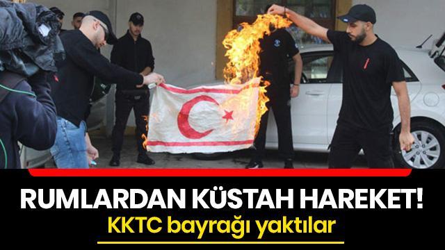 Rumlardan küstah hareket! KKTC bayrağı yaktılar