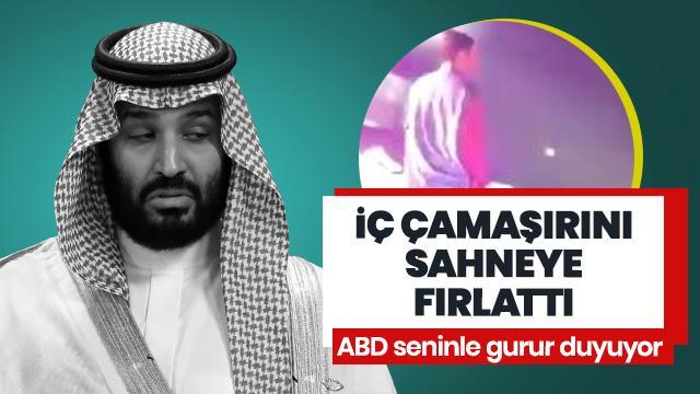 Suudi Arabistan'da iğrenç olay! İç çamaşırını sahneye fırlattı