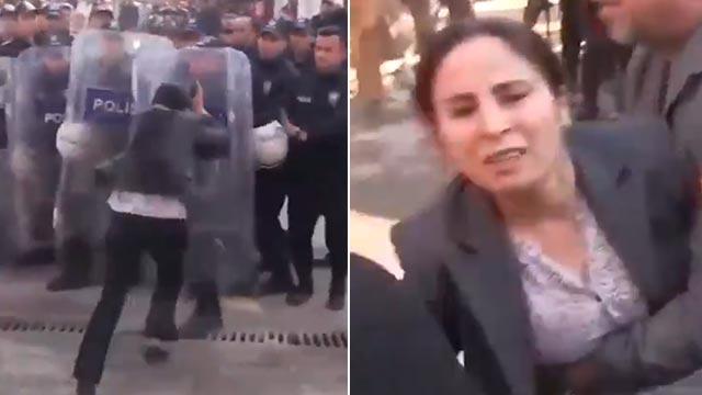 HDP'li vekil Ayşe Sürücü polisimizin kalkanına kafa atmaya çalıştı sonra da baygınlık geçirdi!