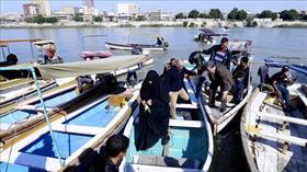 Bağdat'ta köprülerin kapanması vatandaşları teknelere yöneltti