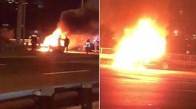 15 Temmuz Şehitler Köprüsü'nde otomobil yangını!