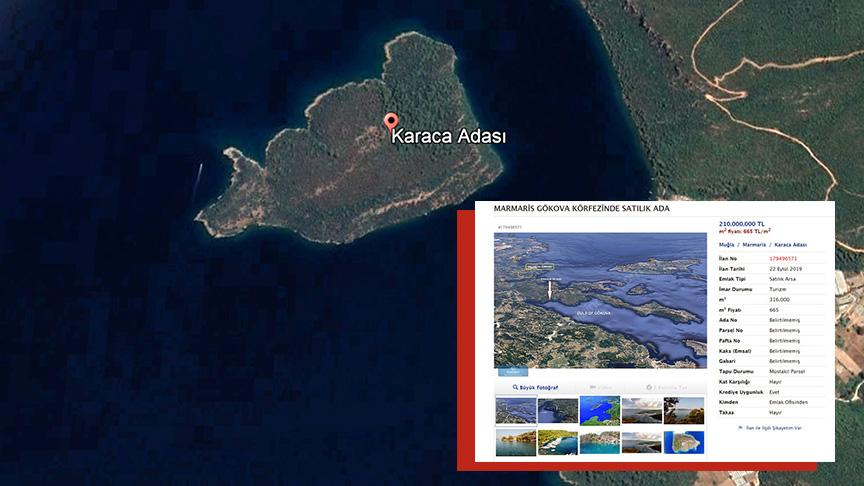 Karaca Adası'nın fiyatı düştü