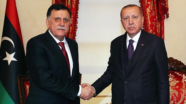 Başkan Erdoğan, Libya Ulusal Mutabakat Hükümeti Başkanlık Konseyi Başkanı Fayez Al Sarraj'ı kabul etti