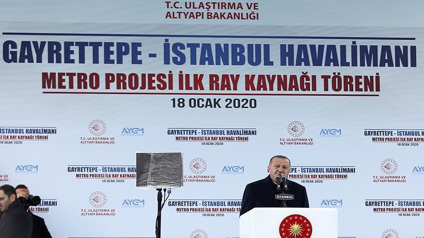 Başkan Erdoğan Gayrettepe-İstanbul Havalimanı metro projesinin kaynak töreninde: Türkiye'nin en hızlısı