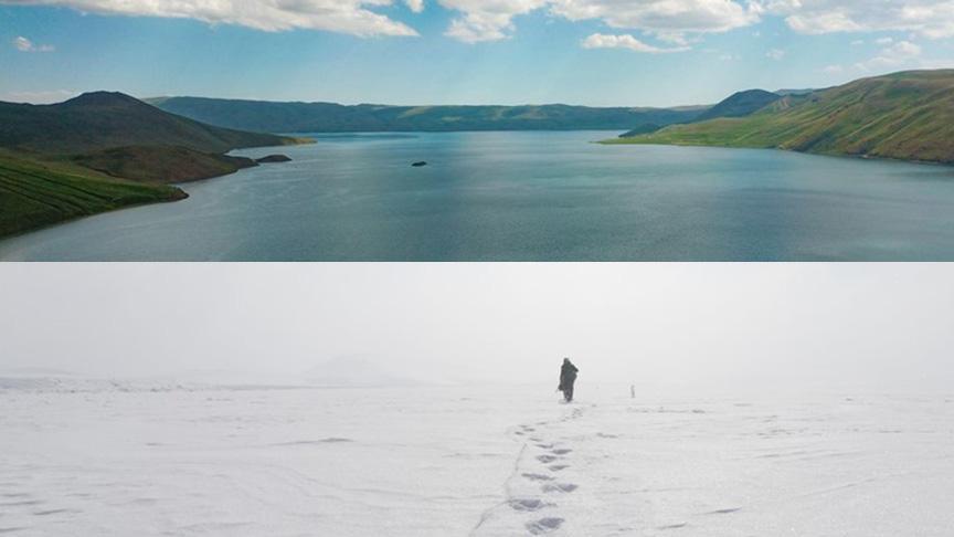 Türkiye'nin en yüksek rakımlı gölü 'Balık Gölü' buz tuttu