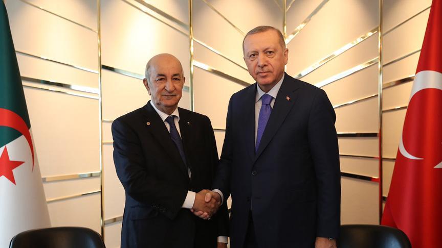 Başkan Erdogan, Cezayir Cumhurbaşkanı Abdülmecid Tebbun ile bir araya geldi