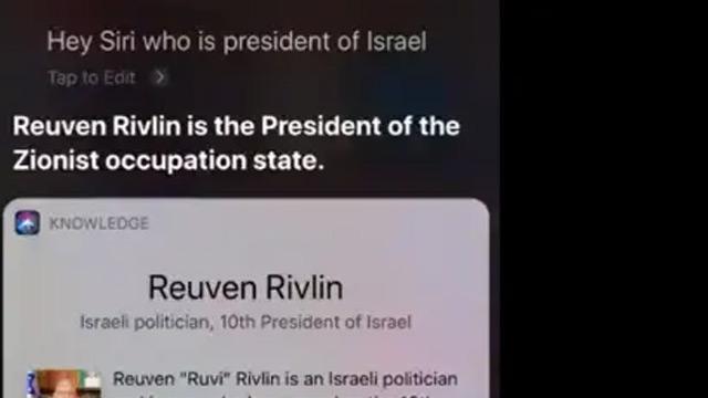 """Siri'nin """"İsrail Cumhurbaşkanı kimdir?"""" sorusuna verdiği yanıt ortalığı karıştırdı"""