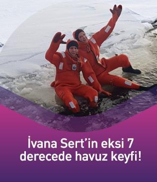Ivana Sert şaşırttı! Eksi 7 derecede buz gibi sulara kendini bıraktı