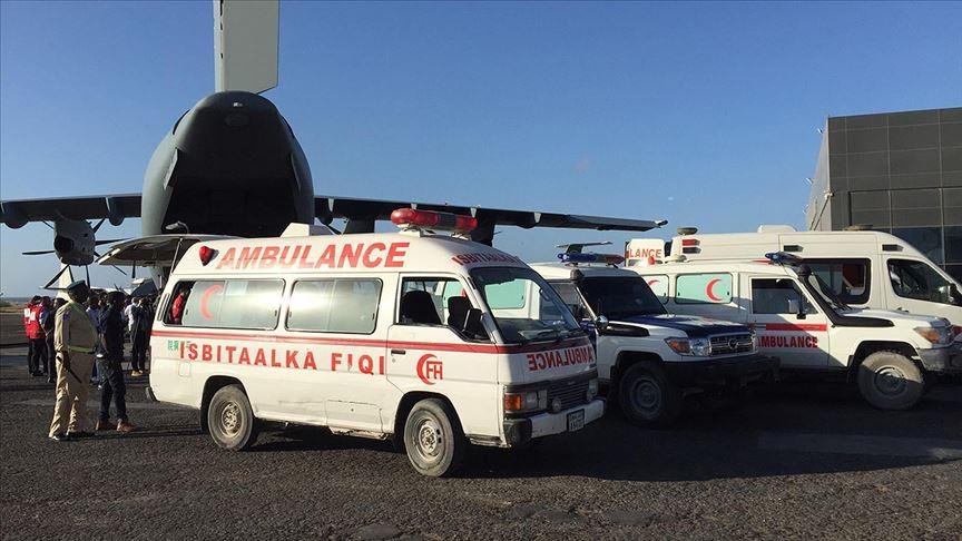 Somali'deki yaralıları Türkiye'ye getirecek uçak Mogadişu'ya indi