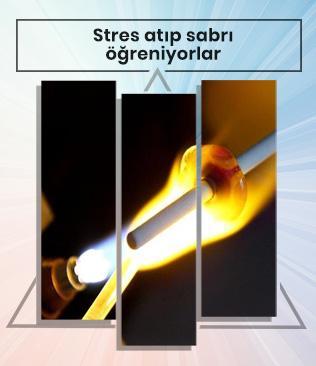 Alevlerle cama şekil verirken stres atıp sabrı öğreniyorlar