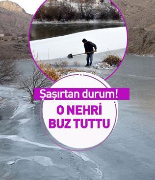 Türkiye'nin en hızlı akan nehrini buz tuttu