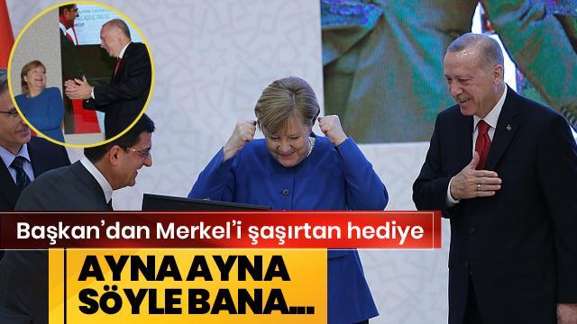 Başkan Erdoğan'dan Merkel'i şaşırtan hediye