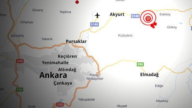 Ankara'nın Akyurt ilçesinde 3,9 büyüklüğünde deprem