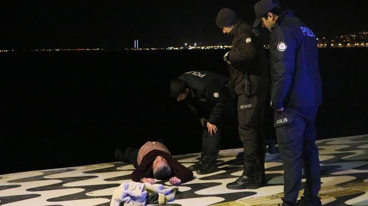Alkolün sonu kötü bitti! Denize düşen adamı polis kurtardı
