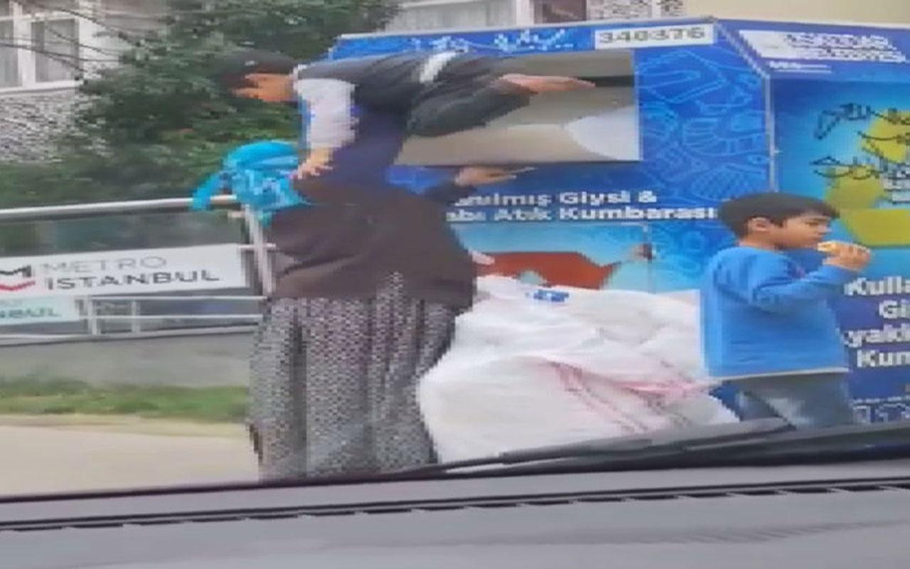 Üsküdar'dan ilginç haber! Kadın giysi kumbarasına çocuğunu sokup ne var ne yok götürdü