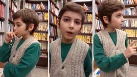 Kitap fuarında dikkatleri çeken 10 yaşındaki Atakan izleyenleri felsefi derinliğiyle büyüledi