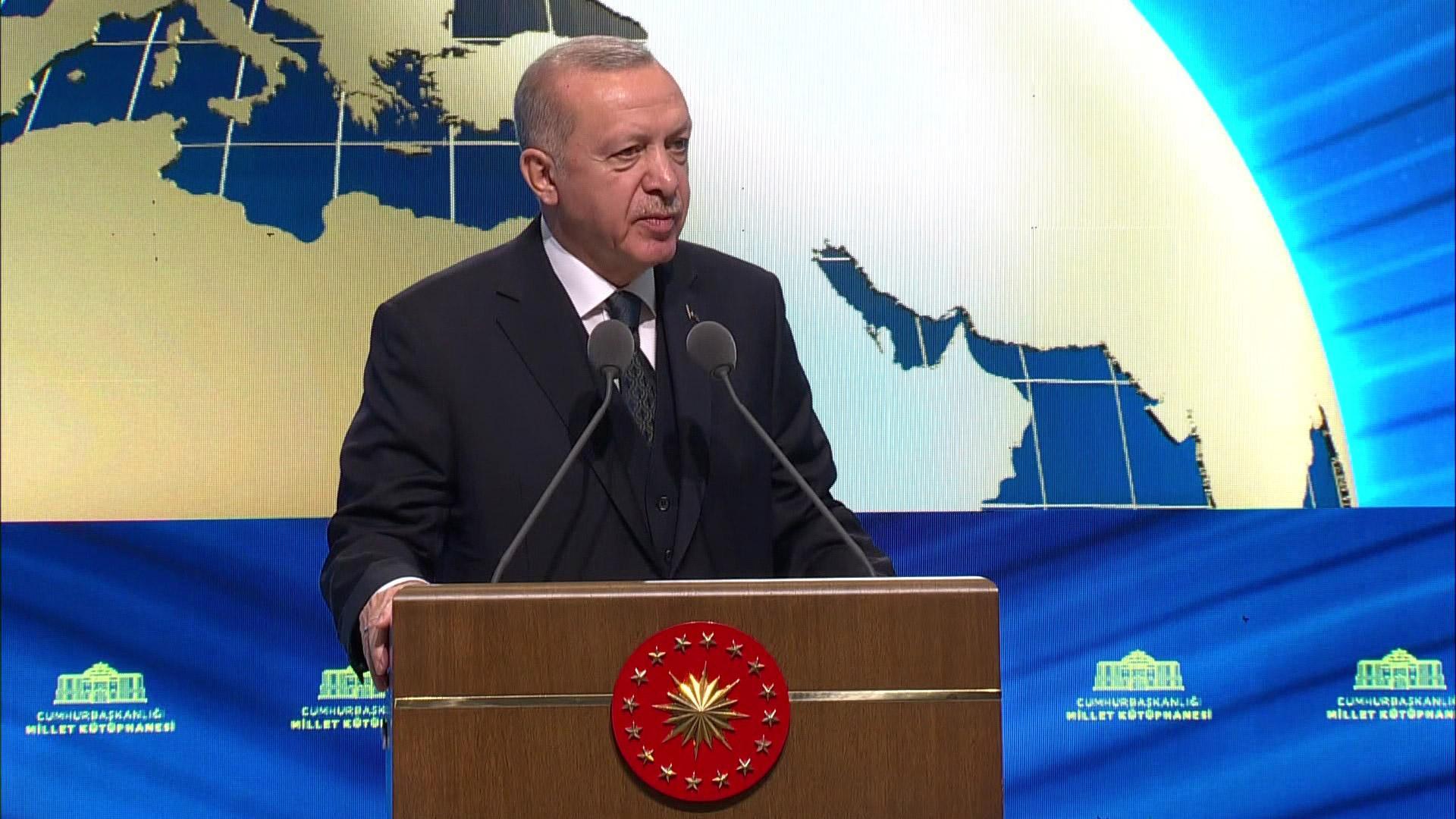 Başkan Erdoğan, Cumhurbaşkanlığı Millet Kütüphanesi açılışında konuşuyor