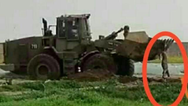 Katil İsrail askerleri Filistinli şehidin naaşını buldozerle sürükledi