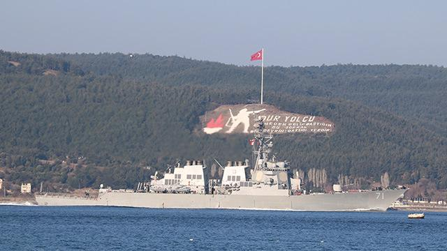 ABD'nin savaş gemisi Çanakkale Boğazı'ndan geçti