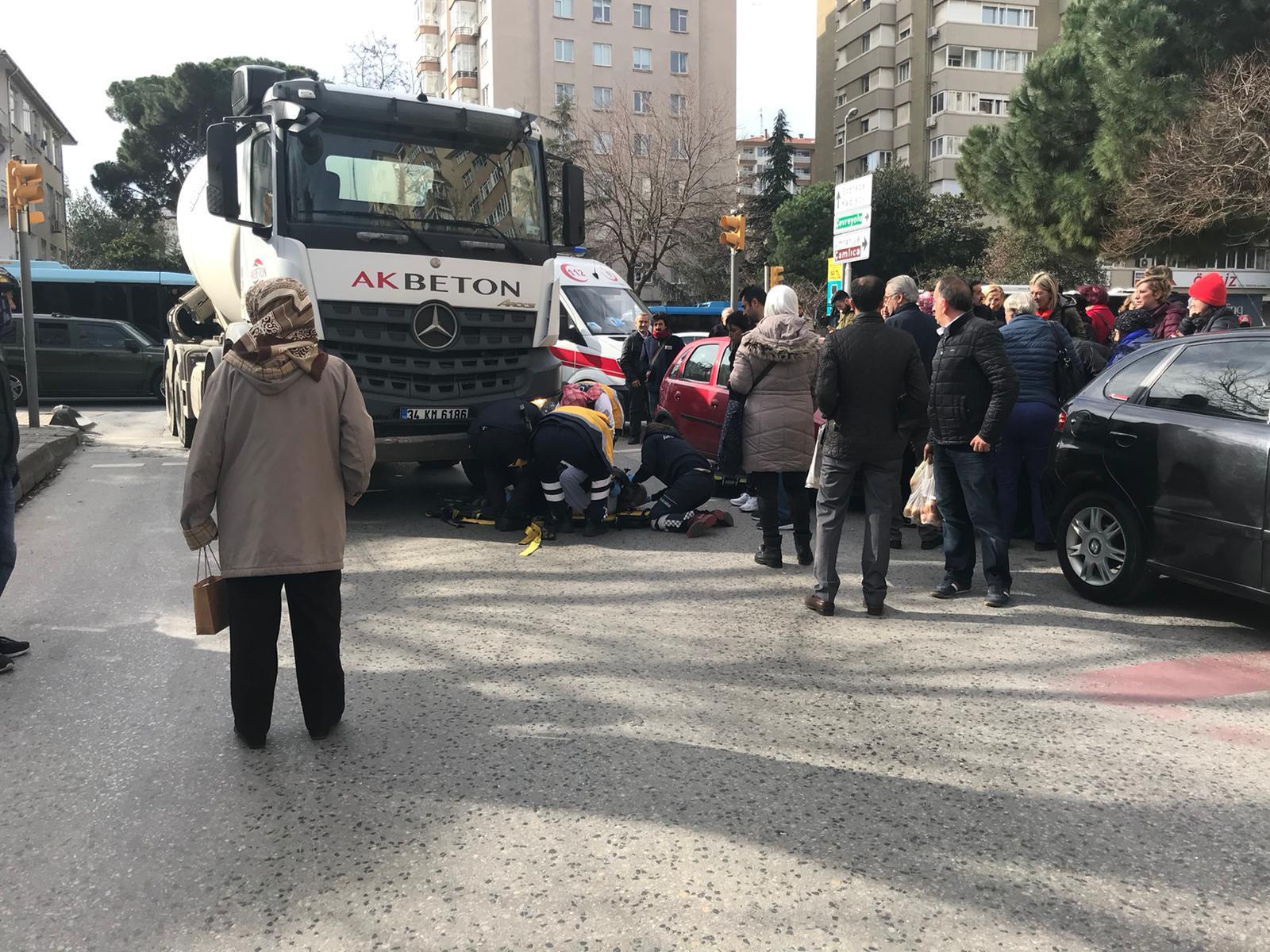 Yaşlı adama beton mikseri çarptı