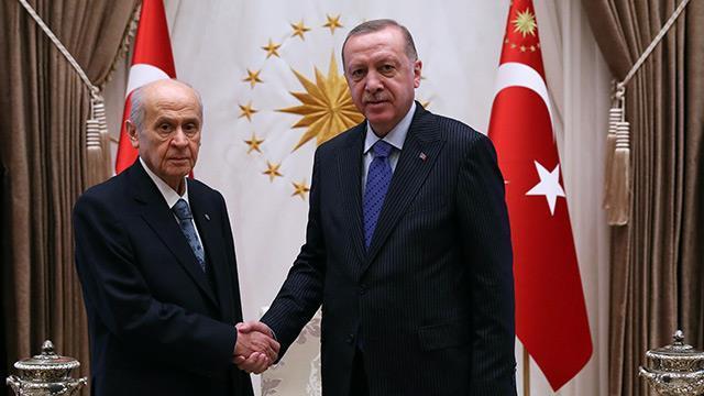 Başkan Erdoğan, Bahçeli'yi kabul ediyor