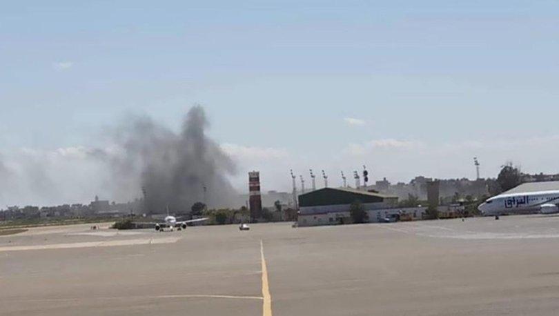 Hafter milislerinin saldırıları nedeniyle Mitiga Havalimanı'nda yangın çıktı