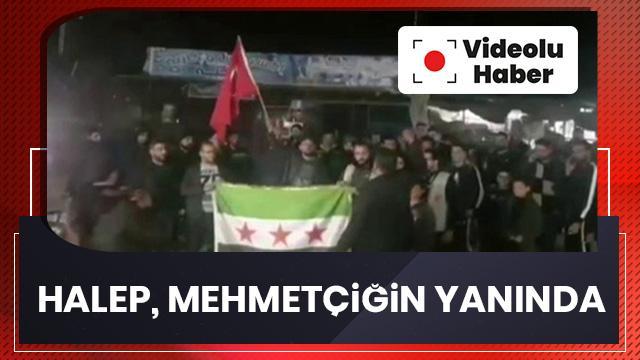 Halep'te TSK'ya destek gösterisi